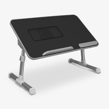 Adjustable Ergonomic Laptop Cooling Table with Fan Black, thumbnail