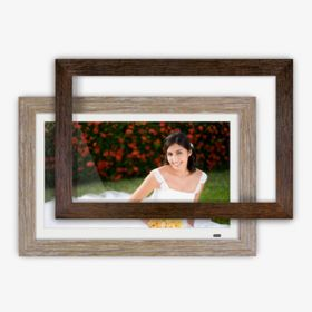 Distressed Wood Digital Photo Frame with Interchangeable Frames - 13.3 inch - thumbnail