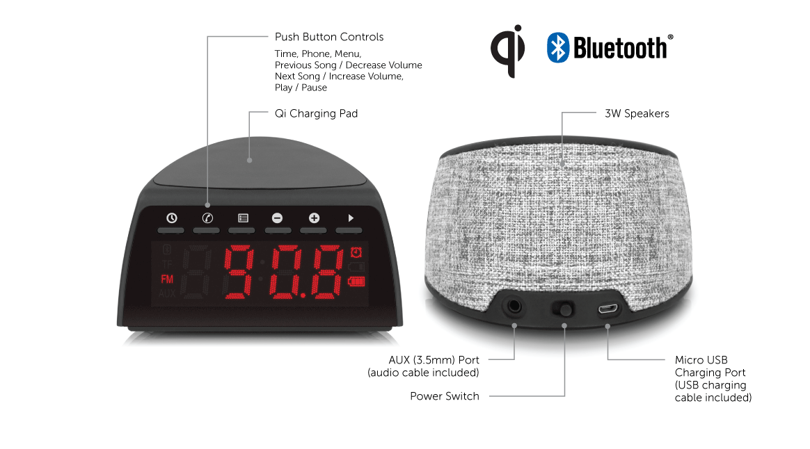 Qi Wireless Charging FM Clock Radio with Bluetooth Streaming application
