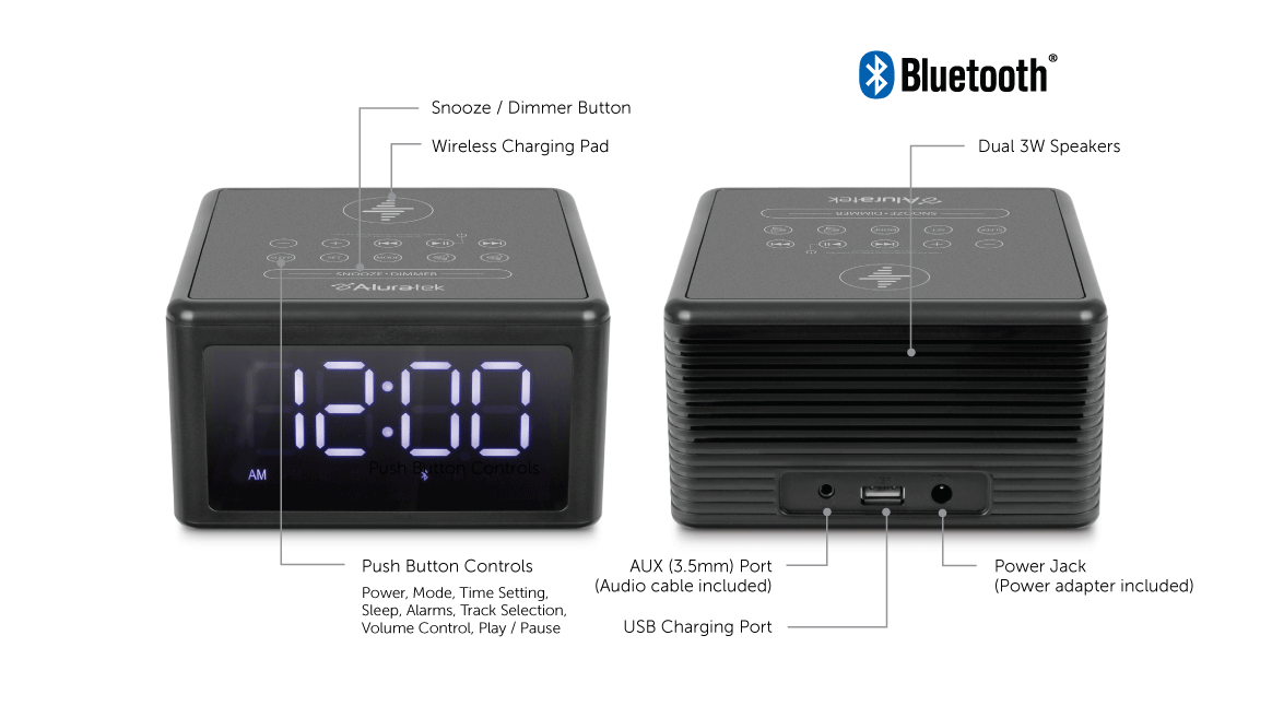 Wireless Charging FM Clock Radio with Bluetooth Streaming application