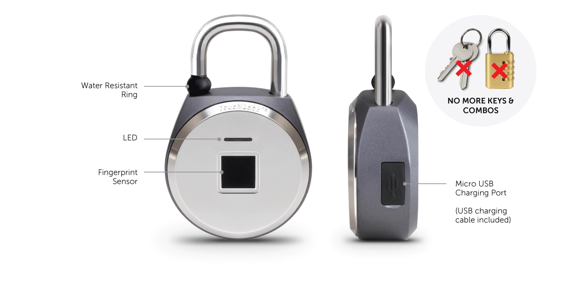 Bio-Key TouchLock XL All Weather Keyless Bio-Lock with Fingerprint Recognition Application