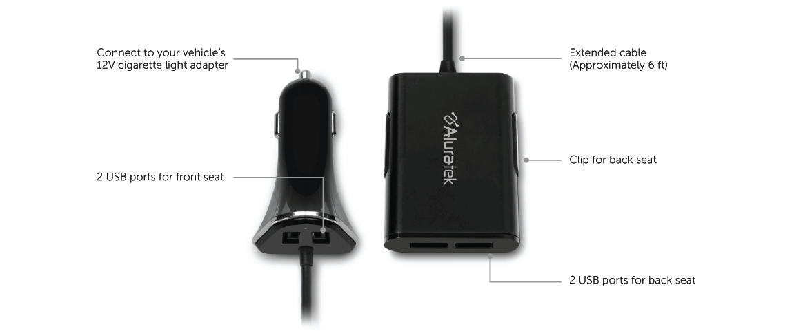 4-Port USB Car Charger with Extended Charging Ports